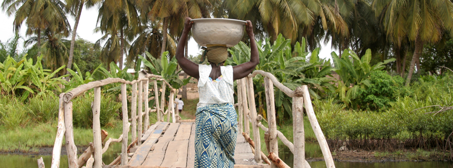 Woman carrying water on her head